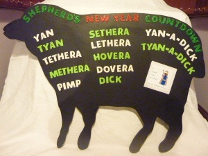 Festive sheep painted black to promote the Swaledale Shepherd's Score