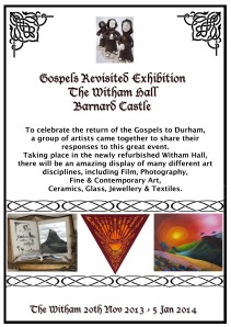 Poster for Gospels revisited exhibition at the Witham Hall, Barnard Castle
