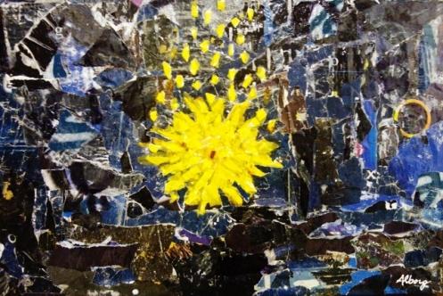 """ A FALLING STAR"" BY ROBERTO ALBORGHETTI, COLLAGE, CM 53X35"
